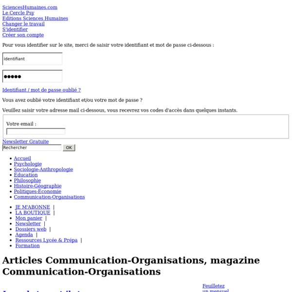 Magazine communication, revue organisations, article communication, articles organisations, Sciences Humaines