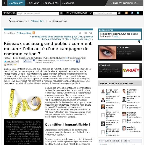 Réseaux sociaux grand public : comment mesurer l'efficacité d'une campagne de communication ?
