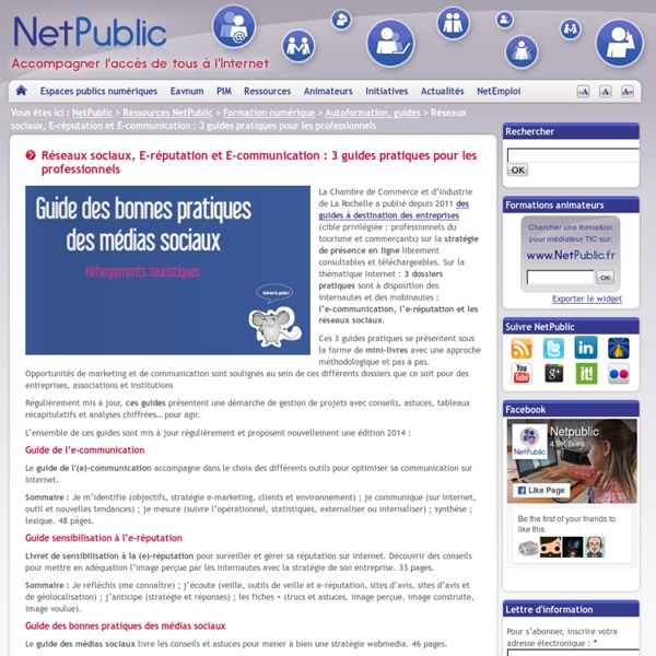 Réseaux sociaux, E-réputation et E-communication : 3 guides pratiques pour les professionnels