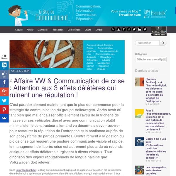 Affaire VW & Communication de crise : Attention aux effets délétères qui ruinent une réputation