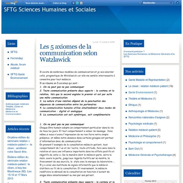 Les 5 axiomes de la communication selon Watzlawick - SFTG Sciences Humaines et Sociales
