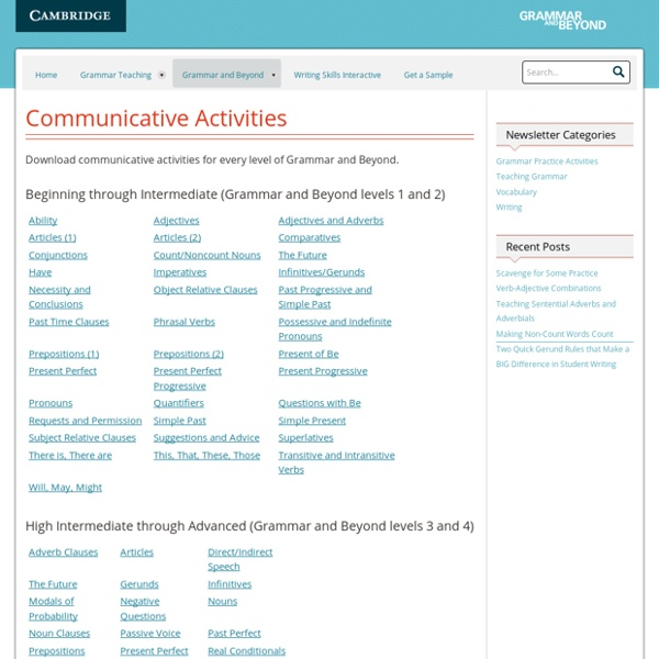 Communicative Activities : Grammar and Beyond