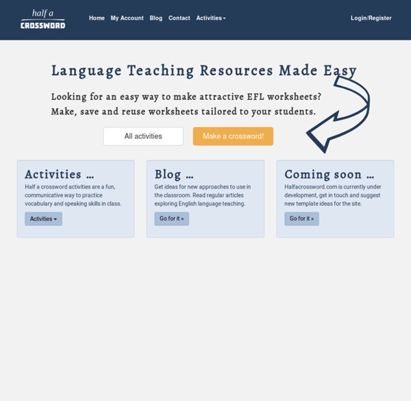 Create communicative EFL worksheets to use with students of all levels.