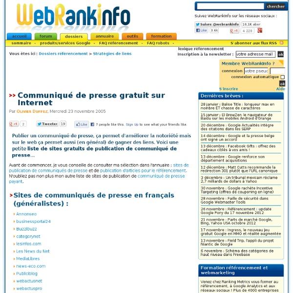 Publier un communiqué de presse en ligne gratuitement