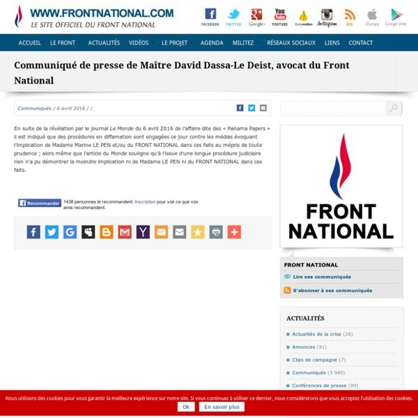 Communiqué de presse de Maître David Dassa-Le Deist, avocat du Front National