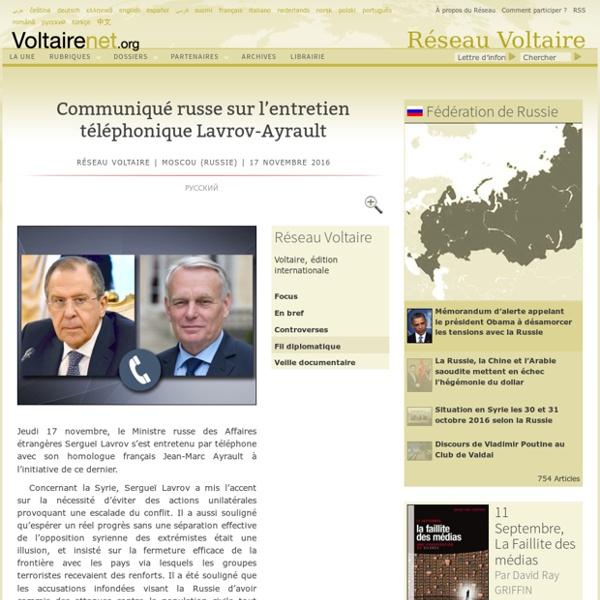 Communiqué russe sur l'entretien téléphonique Lavrov-Ayrault