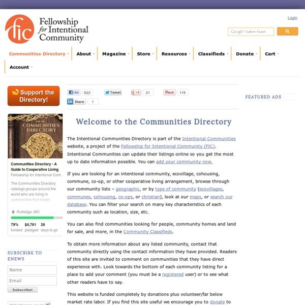 Intentional Communities Directory - ecovillages communes cohousing