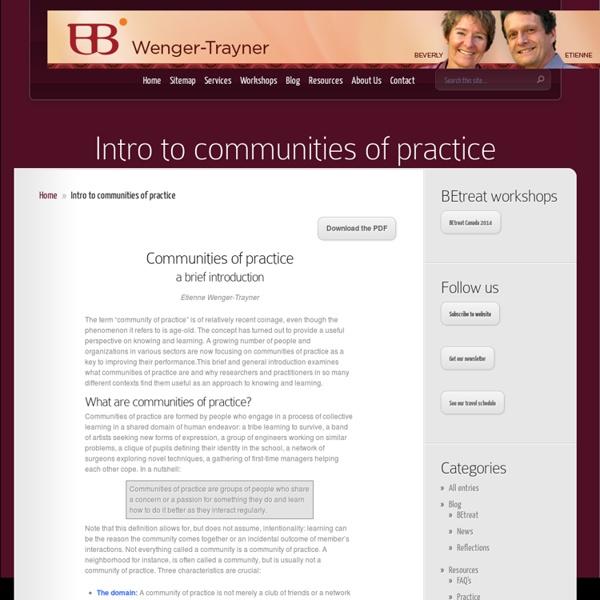 Intro to communities of practice