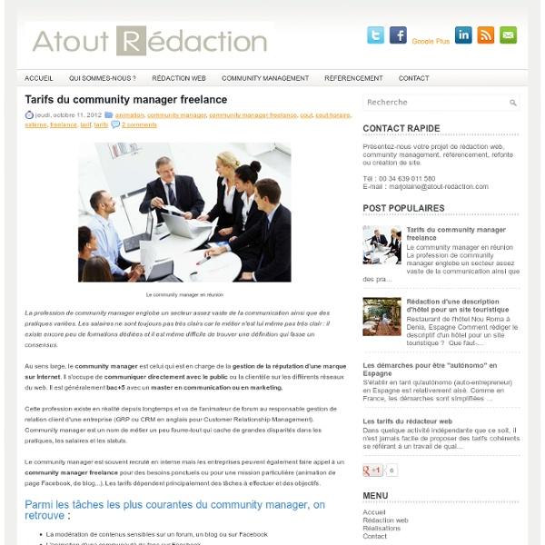 Tarifs du community manager freelance ~ Blog de l'agence Atout Rédaction
