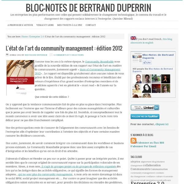L'état de l'art du community management : édition 2012
