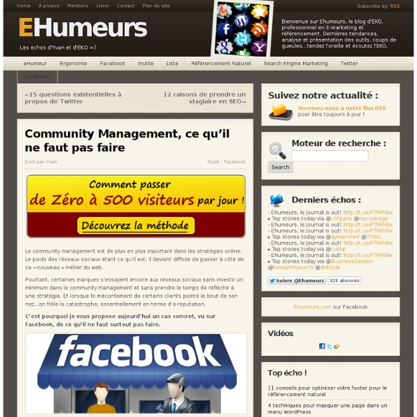 Community Management à ne pas faire - Facebook