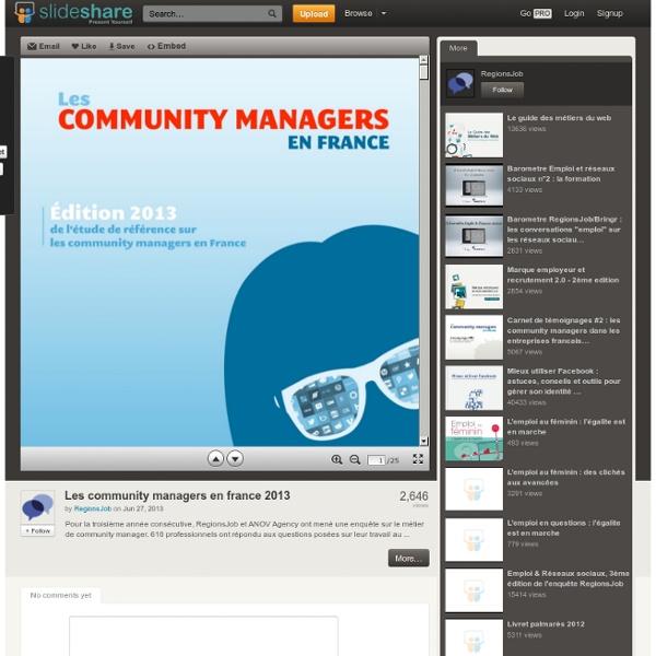 Les community managers en france 2013