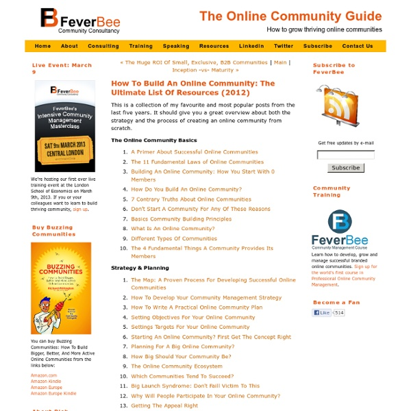 How To Build An Online Community: The Ultimate List Of Resources (2012)