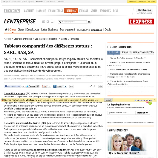 Tableau comparatif des différents statuts : SARL, SAS, SA