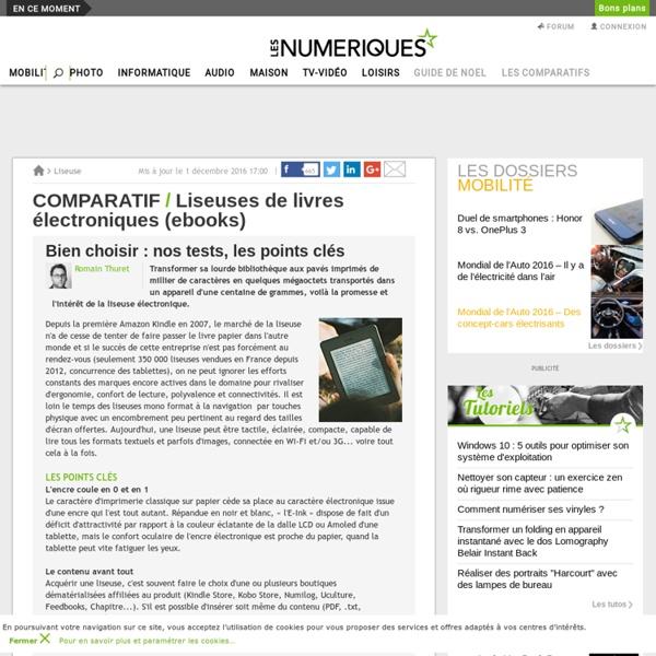 Comparatif : Liseuses de livres électroniques (ebooks)