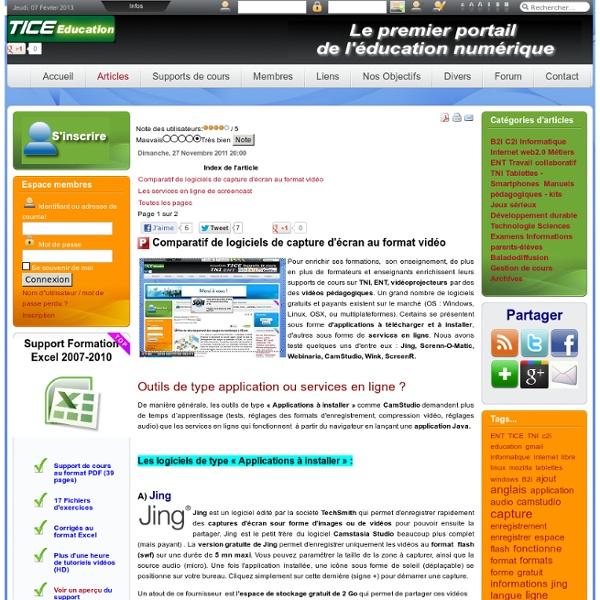 Comparatif de logiciels de capture d'écran au format vidéo