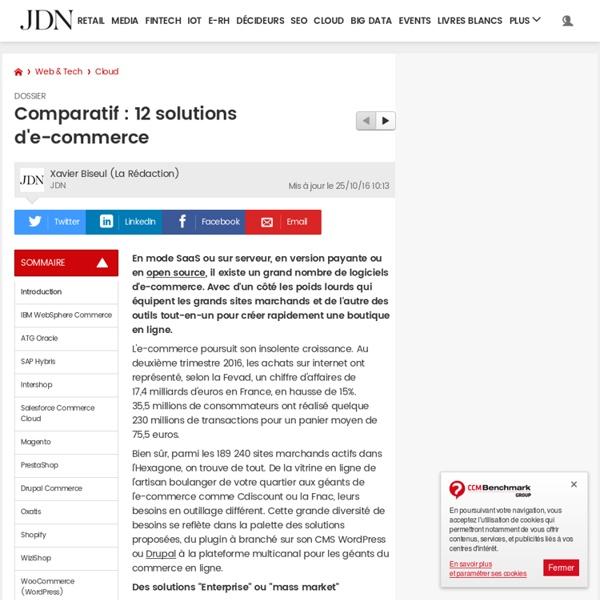 Comparatif : 12 solutions d'e-commerce