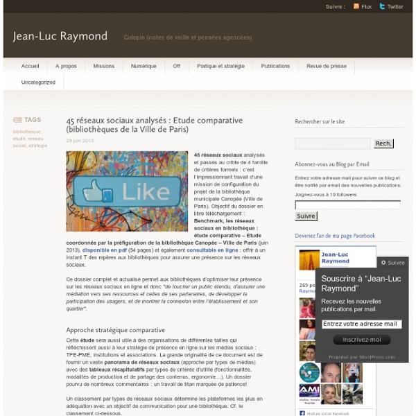 45 réseaux sociaux analysés : Etude comparative (bibliothèques de la Ville de Paris)