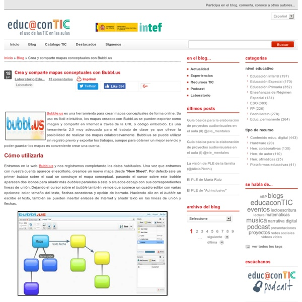 Crea y comparte mapas conceptuales con Bubbl.us