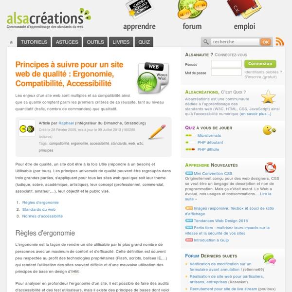 Principes à suivre pour un site web de qualité : Ergonomie, Compatibilité, Accessibilité