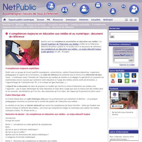 4 compétences majeures en éducation aux médias et au numérique : document de référence