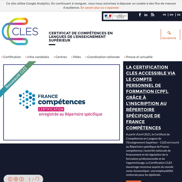 CLES - Certificat de Compétences en Langues de l'Enseignement Supérieur