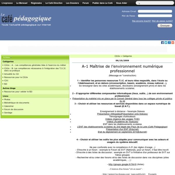 Exemple de contenu dossier C2i2e - Café pédagogique