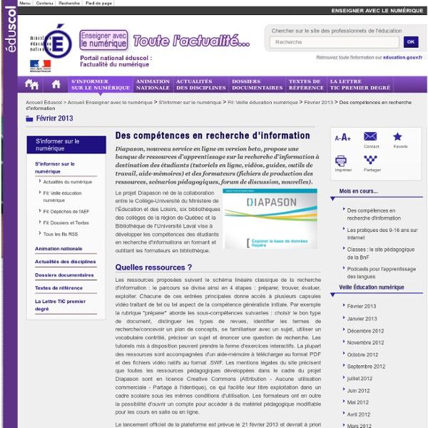 Des compétences en recherche d'information — Enseigner avec le numérique