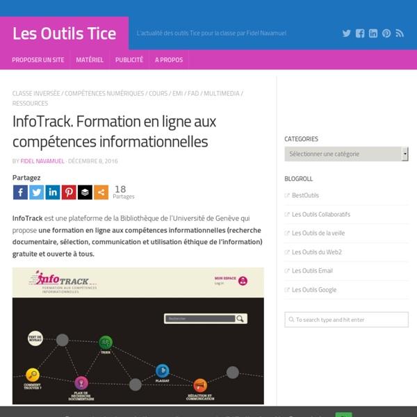 InfoTrack. Formation en ligne aux compétences informationnelles – Les Outils Tice