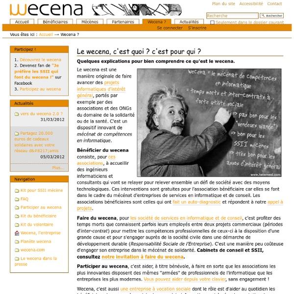 Le wecena, c'est quoi ? c'est pour qui ? — Le wecena, mécénat de compétences en informatique.
