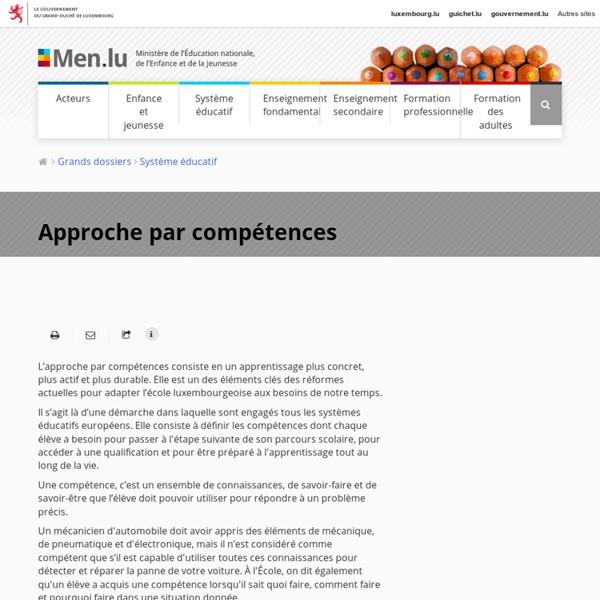 Approche par compétences - Éducation nationale / Enfance / Jeunesse / Luxembourg