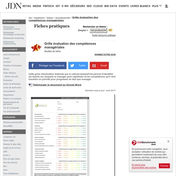 Grille évaluation des compétences managériales - Modèle gratuit de lettre