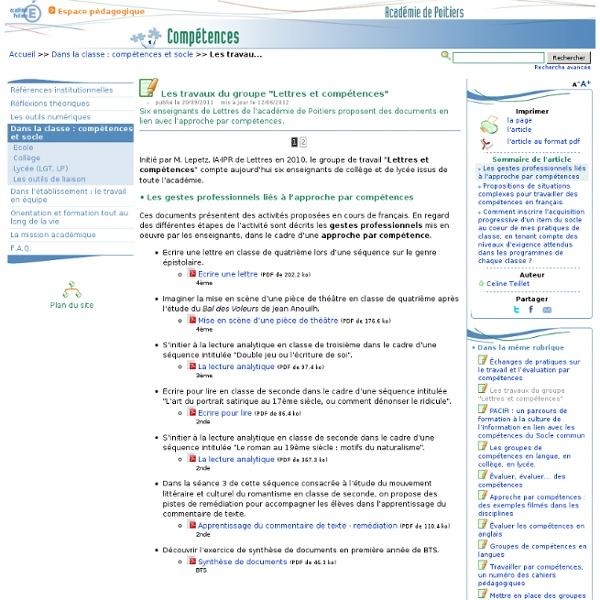 """Les travaux du groupe """"Lettres et compétences""""- Compétences"""