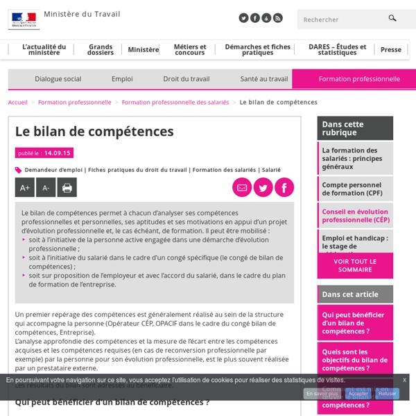 Le bilan de compétences - Formation professionnelle des salariés - MinistèreduTravail, del'Emploi, delaFormation professionnelle etduDialoguesocial