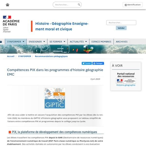 Compétences PIX dans les programmes d'histoire géographie EMC