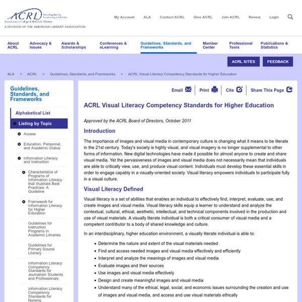 ACRL Visual Literacy Competency Standards for Higher Education
