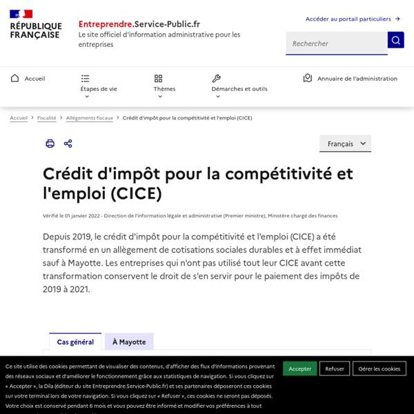 Crédit d'impôt pour la compétitivité et l'emploi (CICE) - professionnels