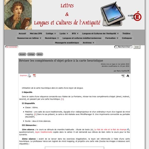 Réviser les compléments d'objet grâce à la carte heuristique - [Lettres & Langues et Cultures de l'Antiquité]