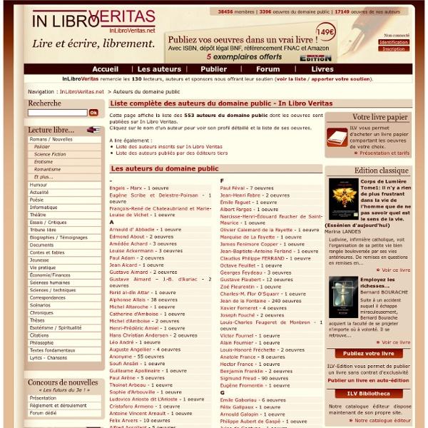 Liste complète des auteurs du domaine public