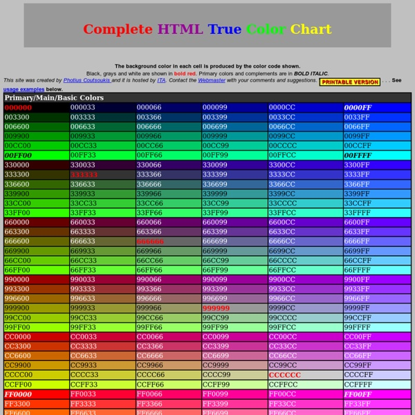 Html Color Code Chart Easily Find Html Color Codes For Your Website