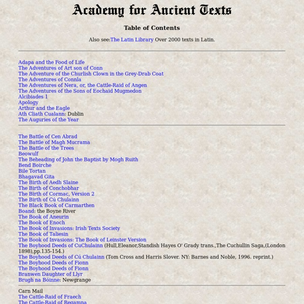 Complete listing of The Academy for Ancient Texts. Ancient texts library.