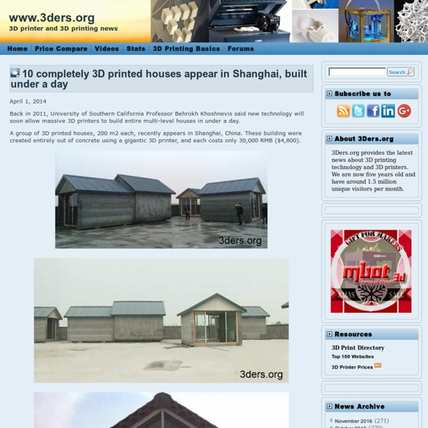 10 completely 3D printed houses appears in Shanghai, built under a day