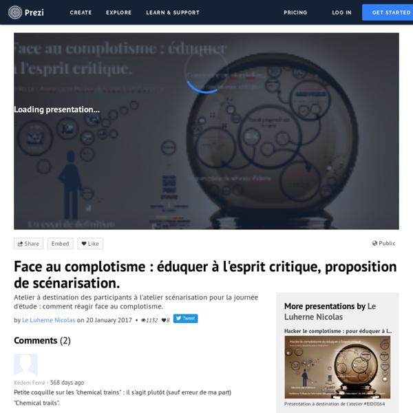 Face au complotisme : éduquer à l'esprit critique, proposition de scénarisation. by Le Luherne Nicolas on Prezi