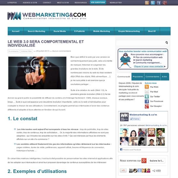 Le Web 3.0 sera comportemental et individualisé