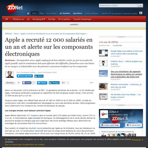 Apple a recruté 12 000 salariés en un an