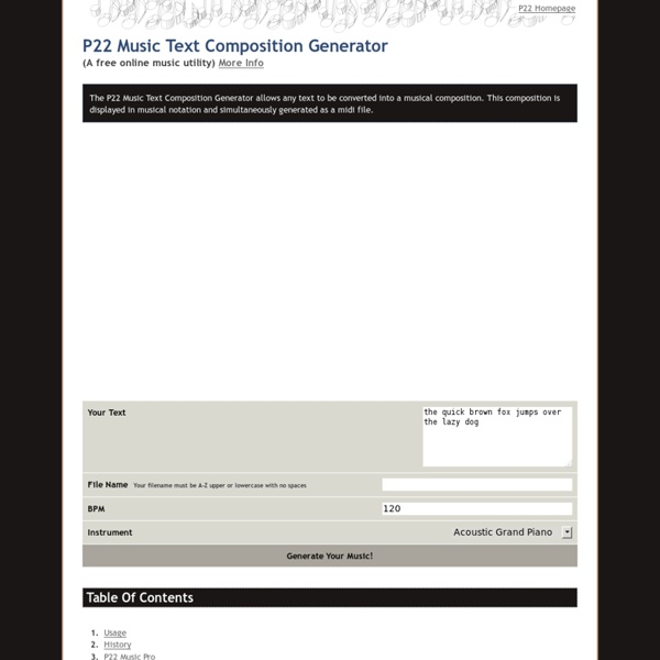 P22 Music Text Composition Generator ( A free online music utility)