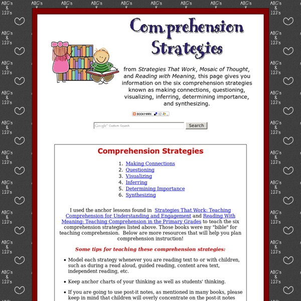Comprehension Strategies - Making connections, questioning, inferring, determining importance, and more