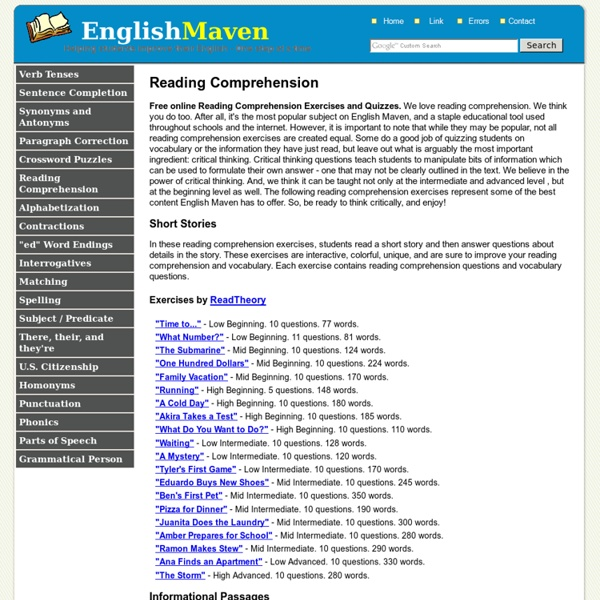 Free Online Reading Comprehension Exercises
