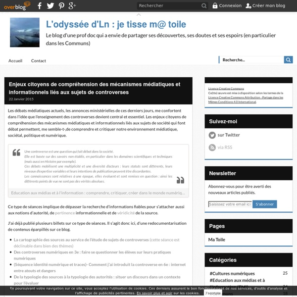 Enjeux citoyens de compréhension des mécanismes médiatiques et informationnels liés aux sujets de controverses