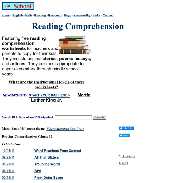 Reading Comprehension - Free Worksheets